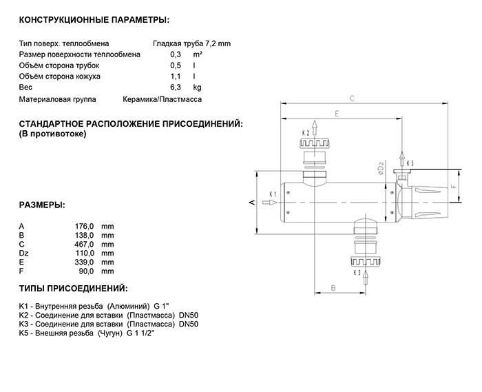 Габаритные размеры кожухотрубного теплообменника Secespol EVO TYPE EVO300EQ