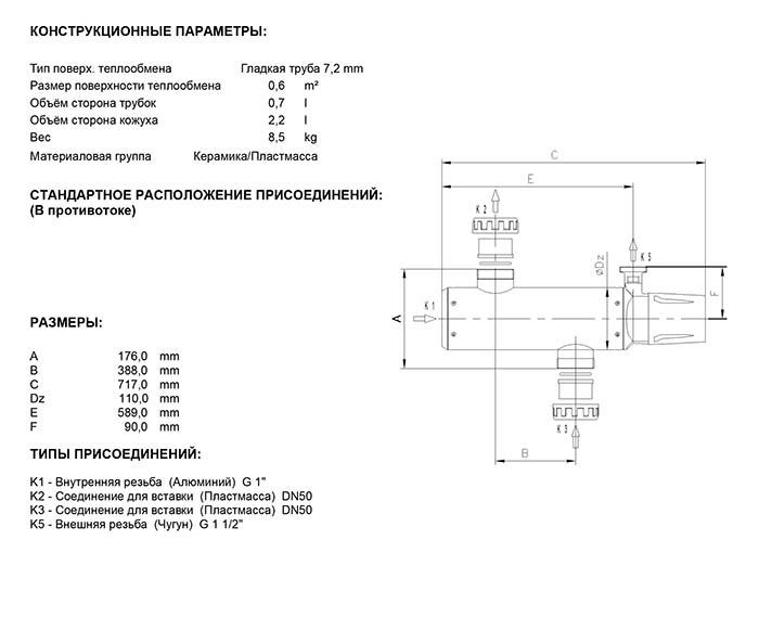 Габаритные размеры кожухотрубного теплообменника Secespol EVO TYPE EVO600EQ