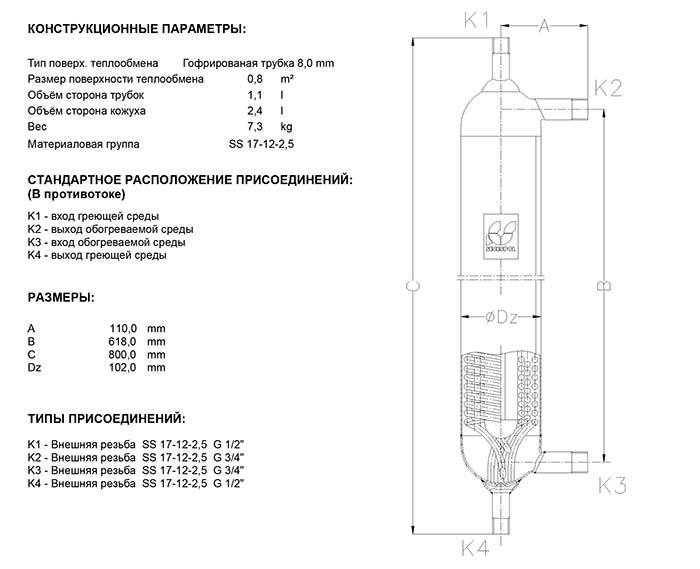 Габаритные размеры кожухотрубного теплообменника Secespol H1 K FF.PRO.TH
