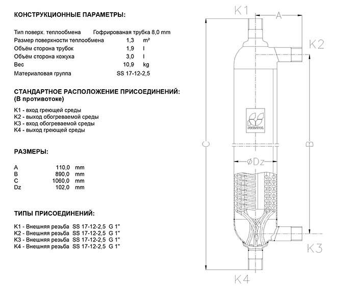 Габаритные размеры кожухотрубного теплообменника Secespol H2 K FF.PRO.TH