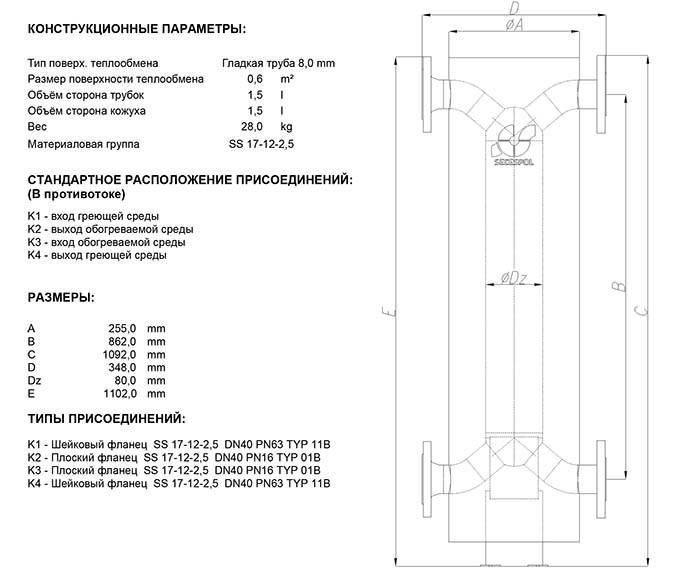 Габаритные размеры кожухотрубного теплообменника Secespol HAD PBX 2.11.08.68
