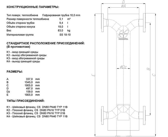 Габаритные размеры кожухотрубного теплообменника Secespol HAD SMXK 6.50.10