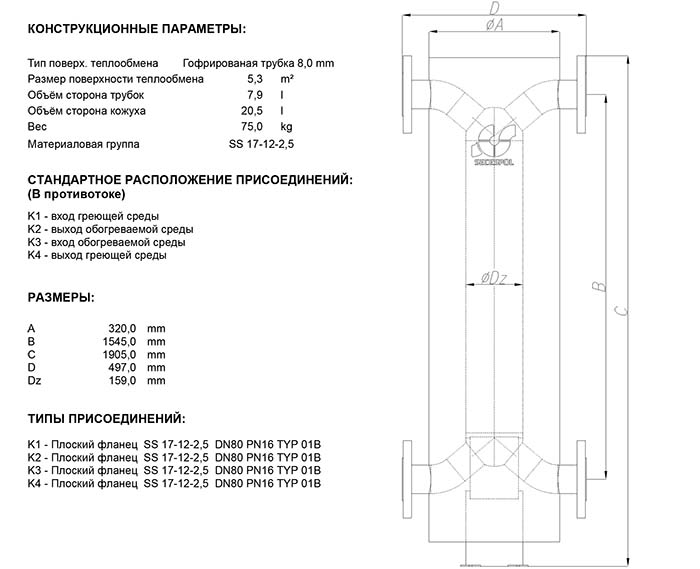 Габаритные размеры кожухотрубного теплообменника Secespol HAD PFXK 6.50