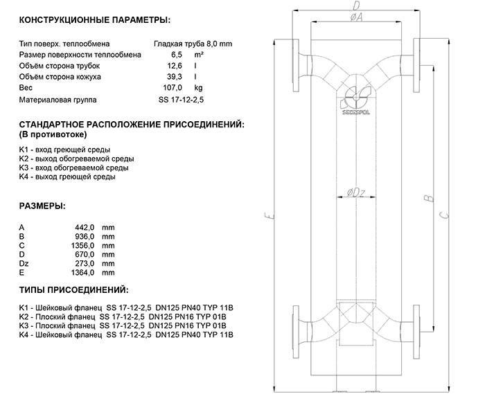 Габаритные размеры кожухотрубного теплообменника Secespol HAD PMX 12.114.08.60