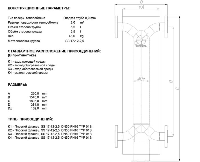 Габаритные размеры кожухотрубного теплообменника Secespol HAD PFX 3.18