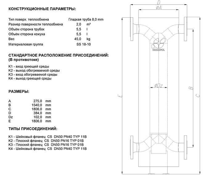 Габаритные размеры кожухотрубного теплообменника Secespol HAD SMX 3.18