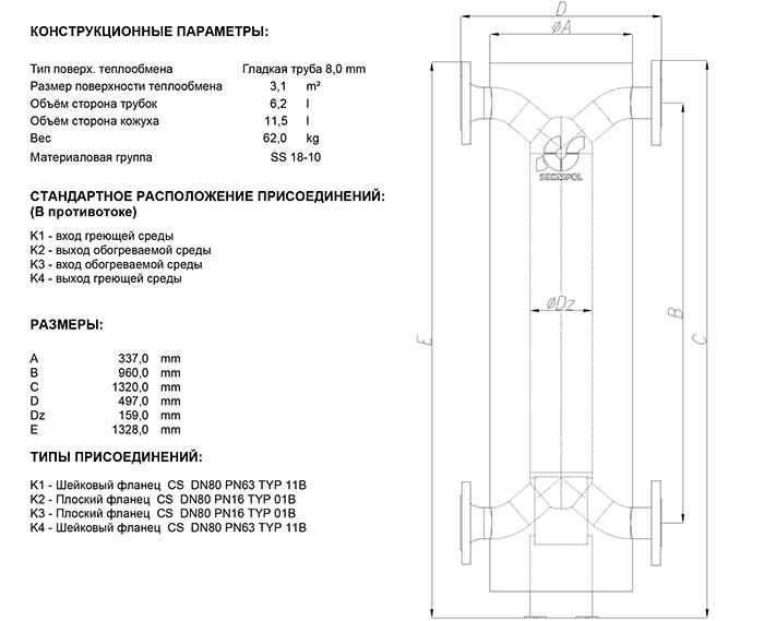 Габаритные размеры кожухотрубного теплообменника Secespol HAD SBX 6.50.08.72