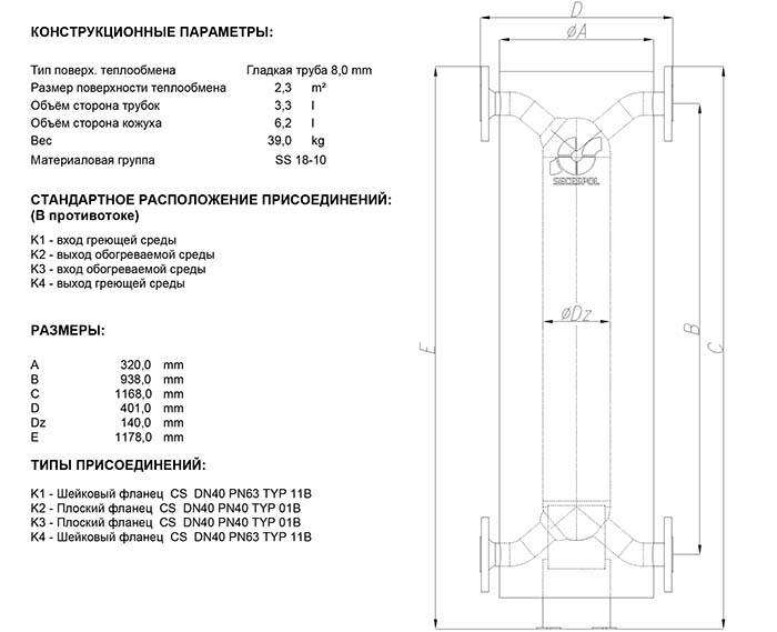 Габаритные размеры кожухотрубного теплообменника Secespol HAD SBX S0