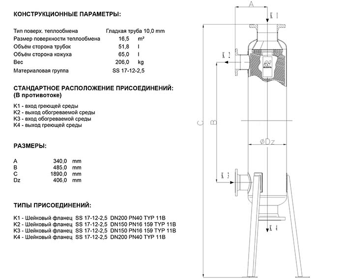 Габаритные размеры кожухотрубного теплообменника Secespol JAD 15.177.10.75 MF.PRO.SS