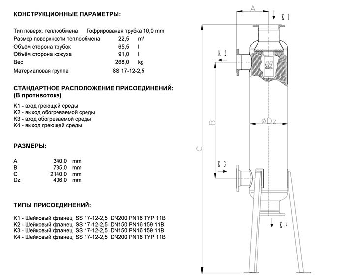 Габаритные размеры кожухотрубного теплообменника Secespol JAD K 15.177.10.100 FF.PRO.SS