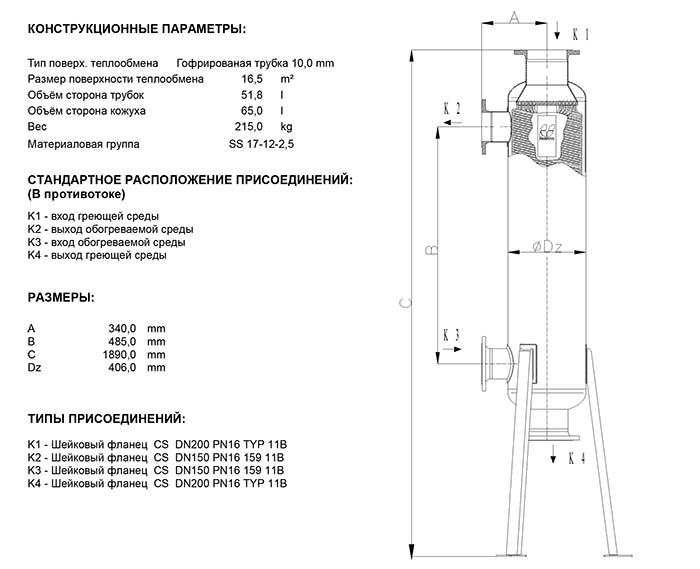 Габаритные размеры кожухотрубного теплообменника Secespol JAD K 15.177.10.75 FF.PRO.CS