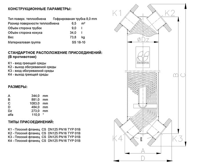 Габаритные размеры кожухотрубного теплообменника Secespol JAD XK 12.114.08.60 FF.STA.CS