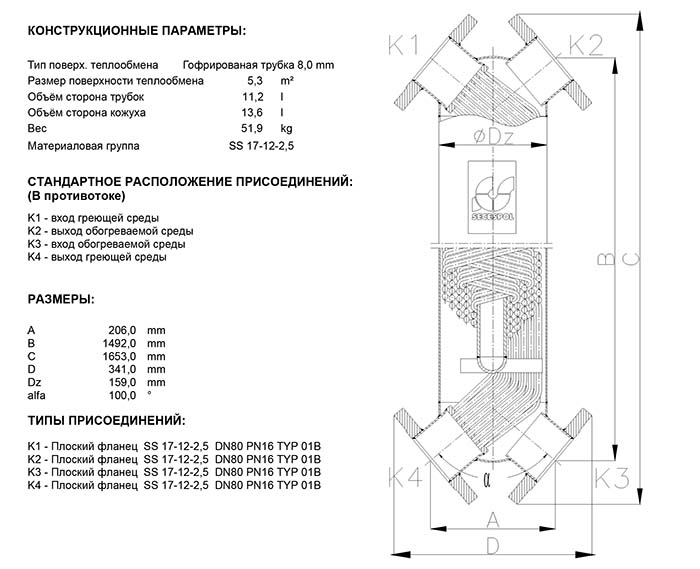 Габаритные размеры кожухотрубного теплообменника Secespol JAD XK 6.50 FF.PRO.SS
