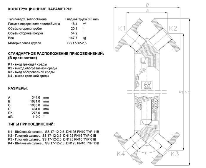 Габаритные размеры кожухотрубного теплообменника Secespol JAD X 12.114 MF.PRO.SS