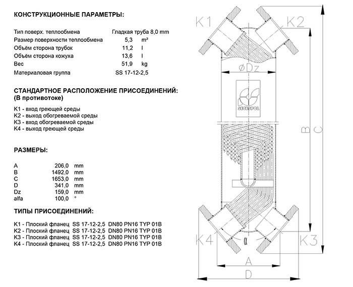 Габаритные размеры кожухотрубного теплообменника Secespol JAD X 6.50 FF.PRO.SS