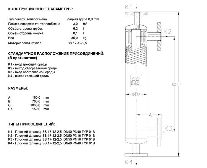 Габаритные размеры кожухотрубного теплообменника Secespol S1 EE.PRO.SS