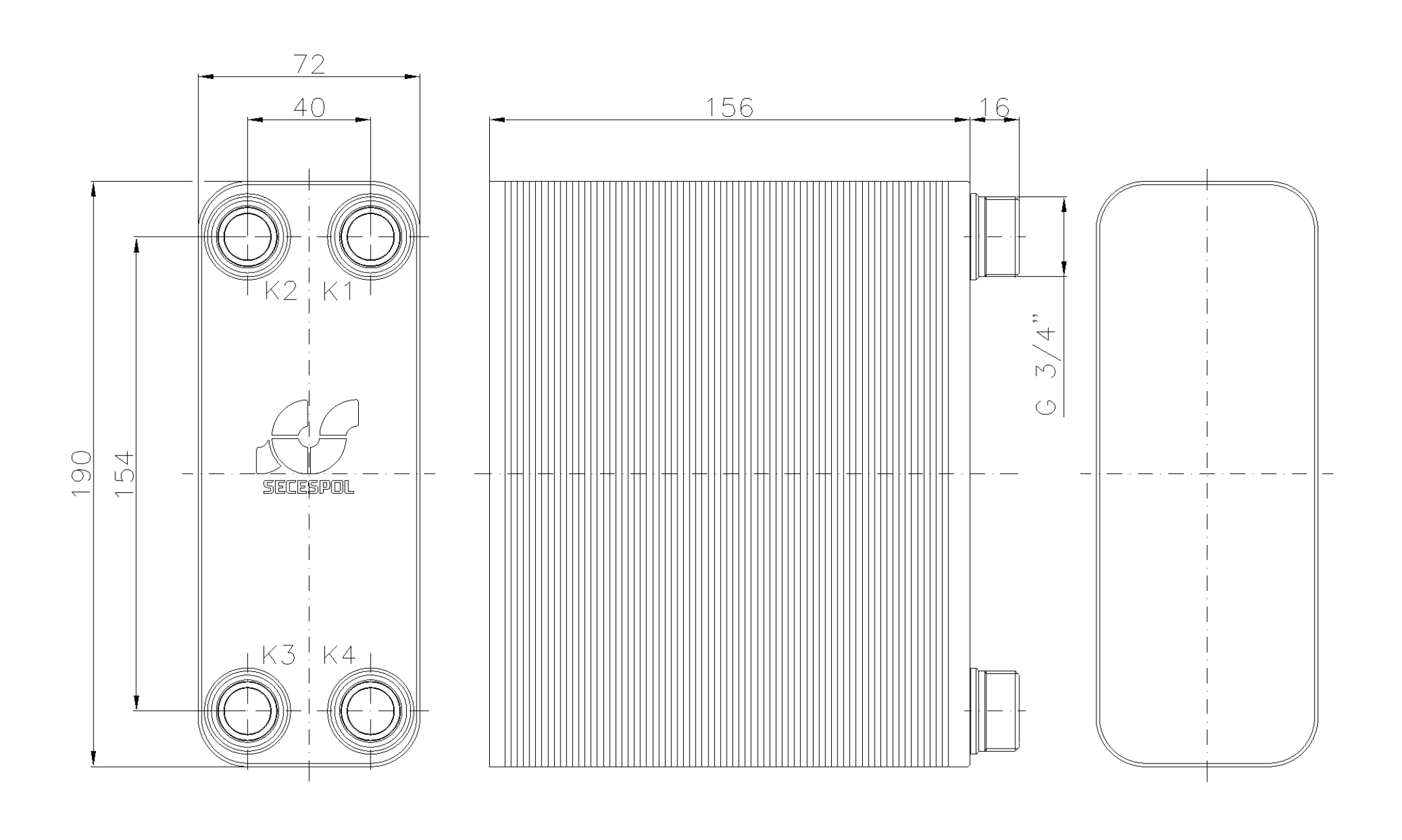 """Габаритные размеры паяного пластинчатого теплообменника Secespol LA12-60-3/4"""""""