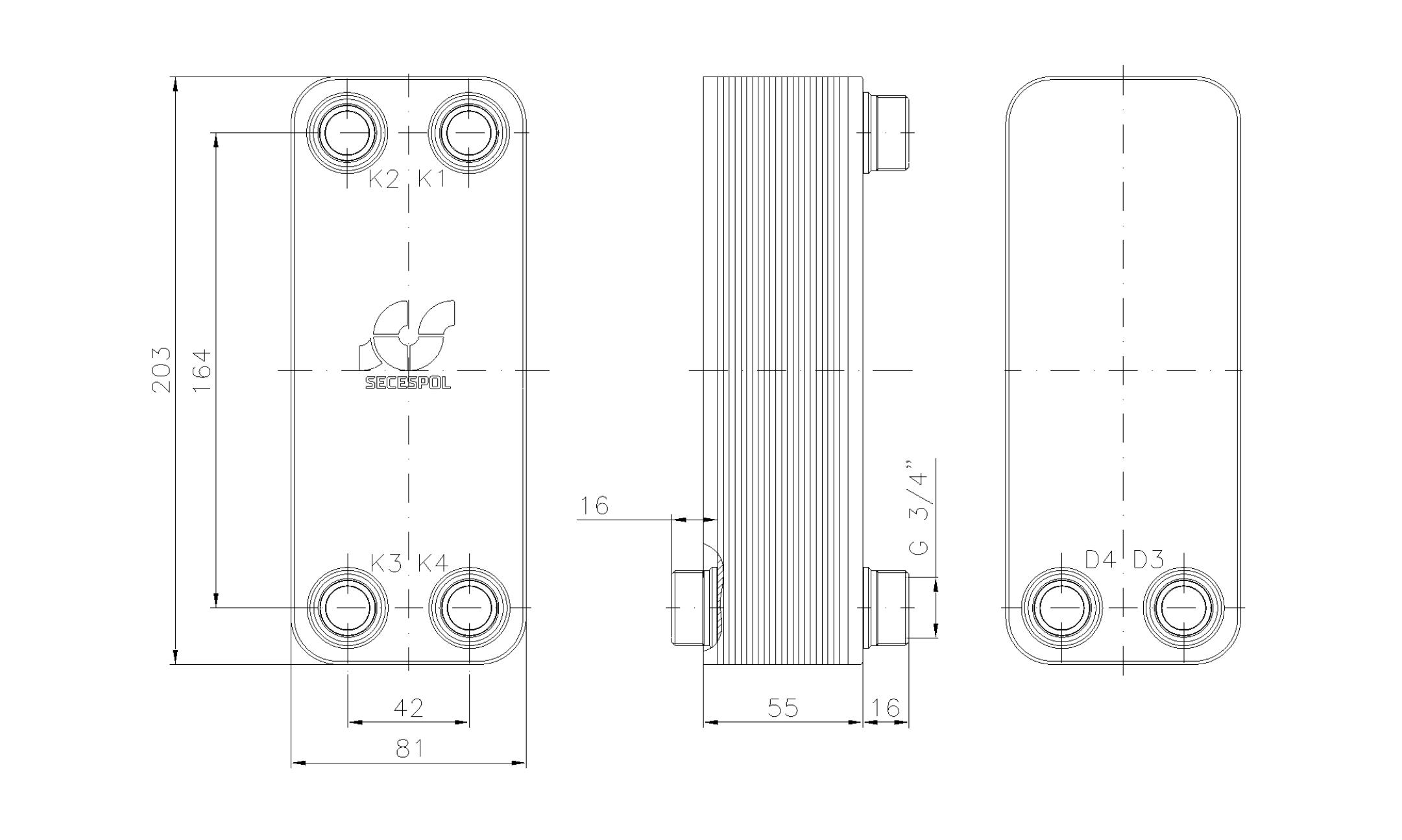 """Габаритные размеры паяного пластинчатого теплообменника Secespol LA14-20-2S-3/4"""""""