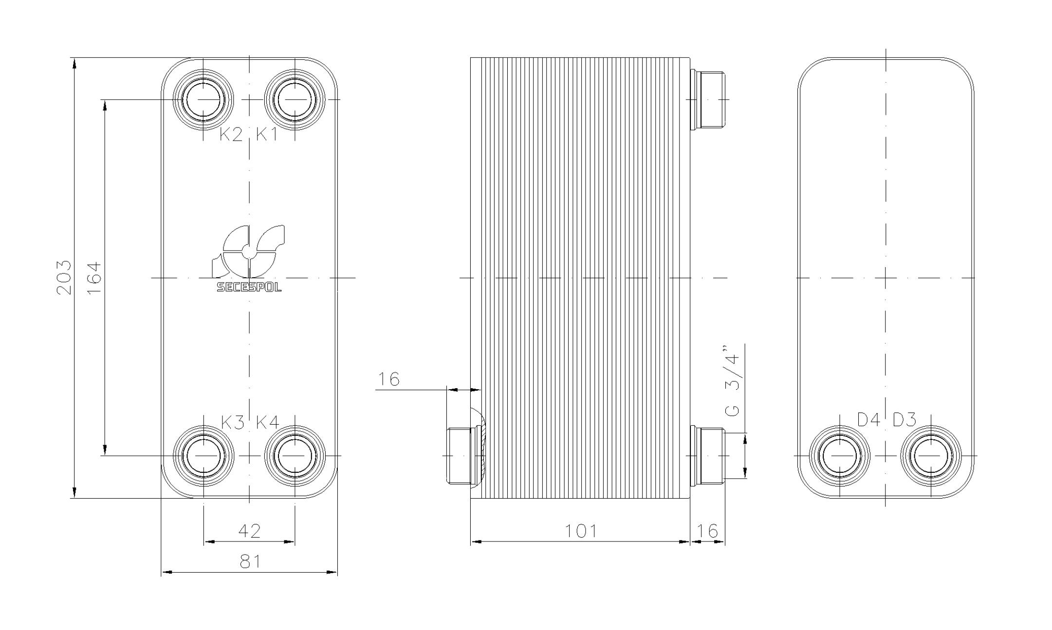 """Габаритные размеры паяного пластинчатого теплообменника Secespol LA14-40-2S-3/4"""""""
