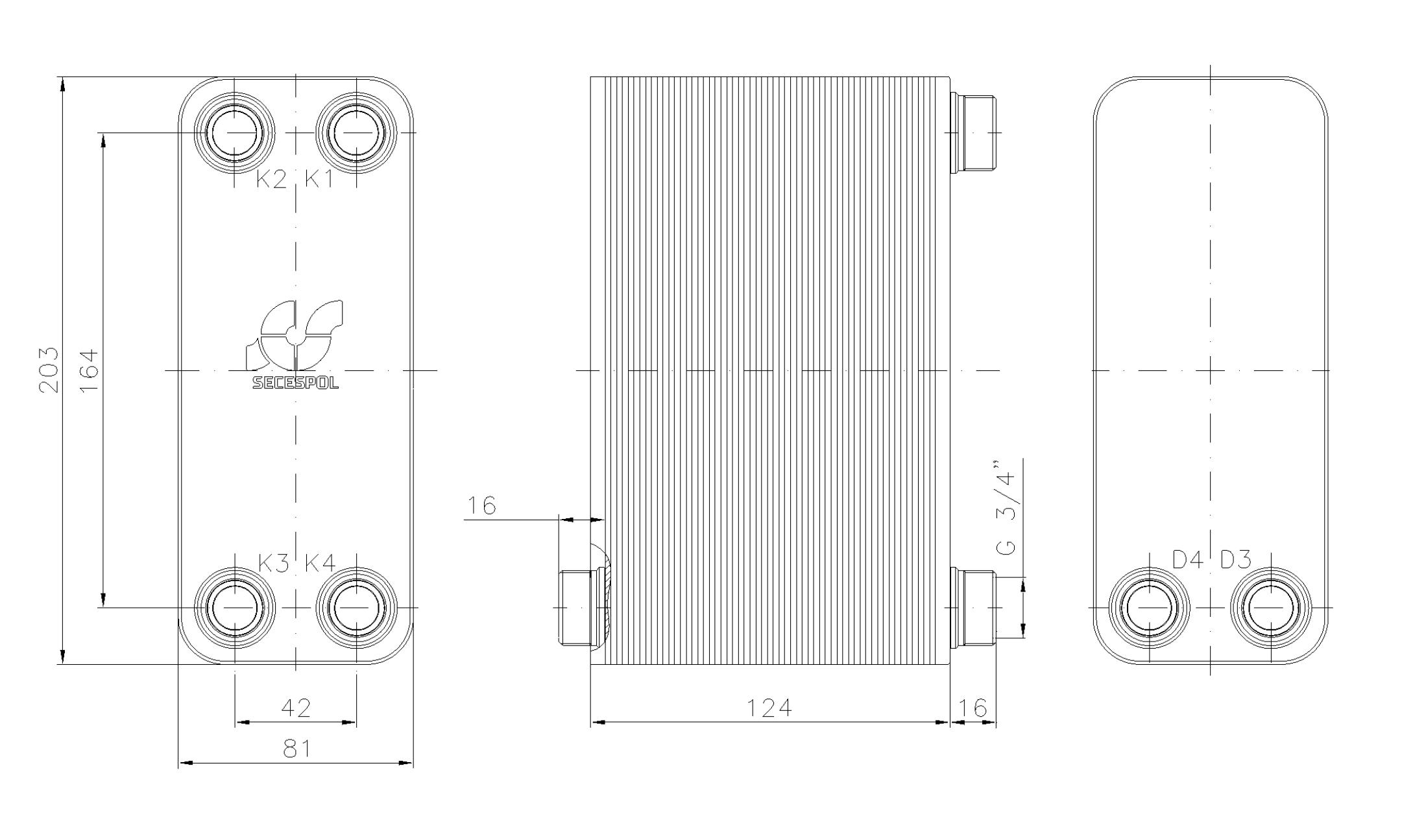 """Габаритные размеры паяного пластинчатого теплообменника Secespol LA14-50-2S-3/4"""""""