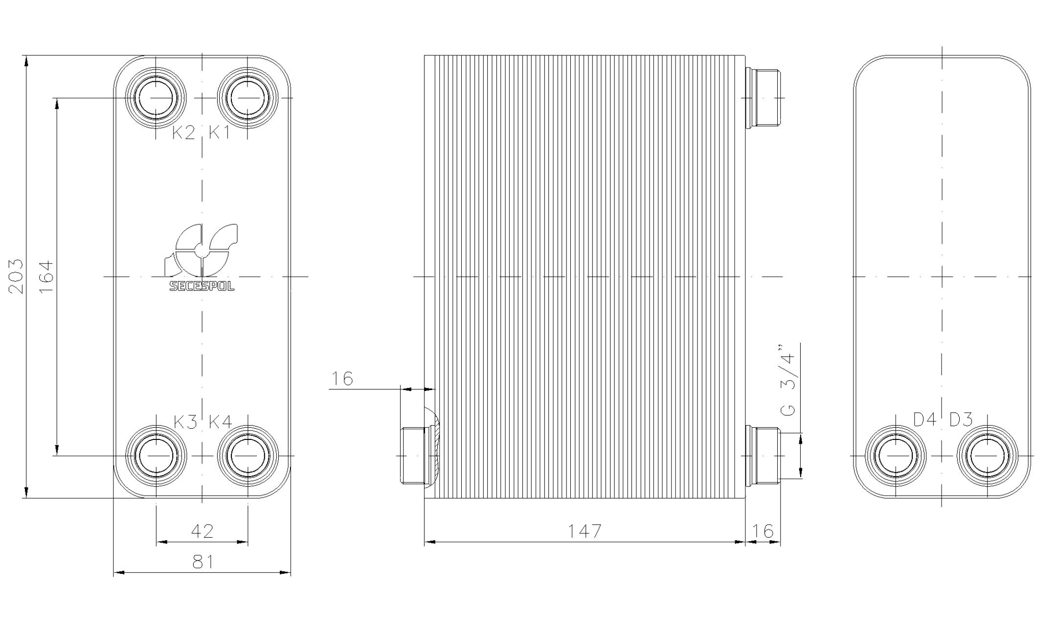 """Габаритные размеры паяного пластинчатого теплообменника Secespol LA14-60-2S-3/4"""""""