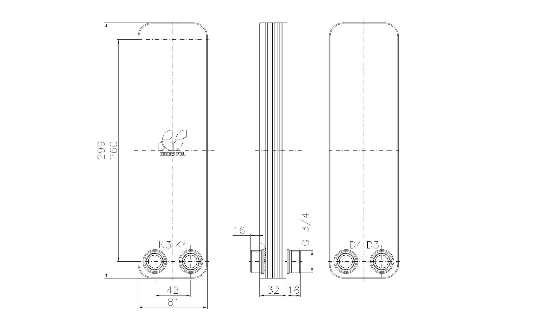 """Габаритные размеры паяного пластинчатого теплообменника Secespol LA22-10-2-3/4"""""""