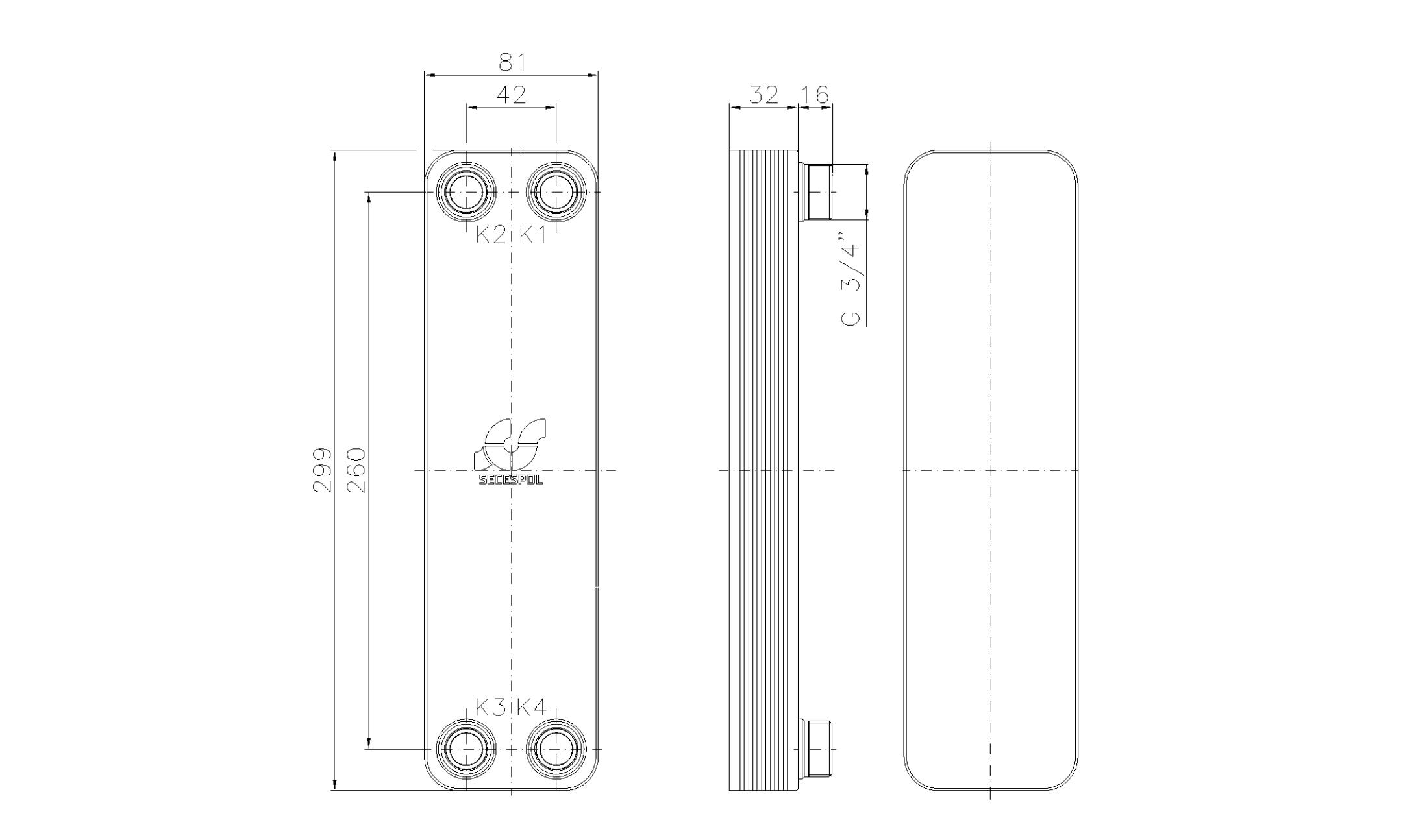 """Габаритные размеры паяного пластинчатого теплообменника Secespol LA22-10-3/4"""""""