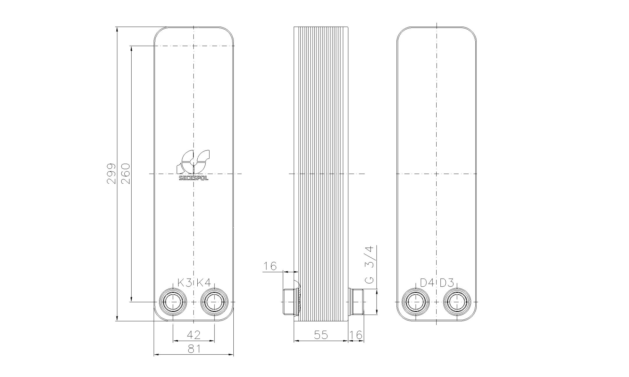 """Габаритные размеры паяного пластинчатого теплообменника Secespol LA22-20-2-3/4"""""""