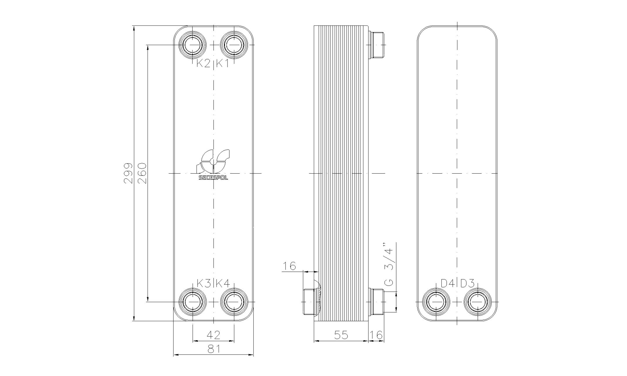 """Габаритные размеры паяного пластинчатого теплообменника Secespol LA22-20-2S-3/4"""""""