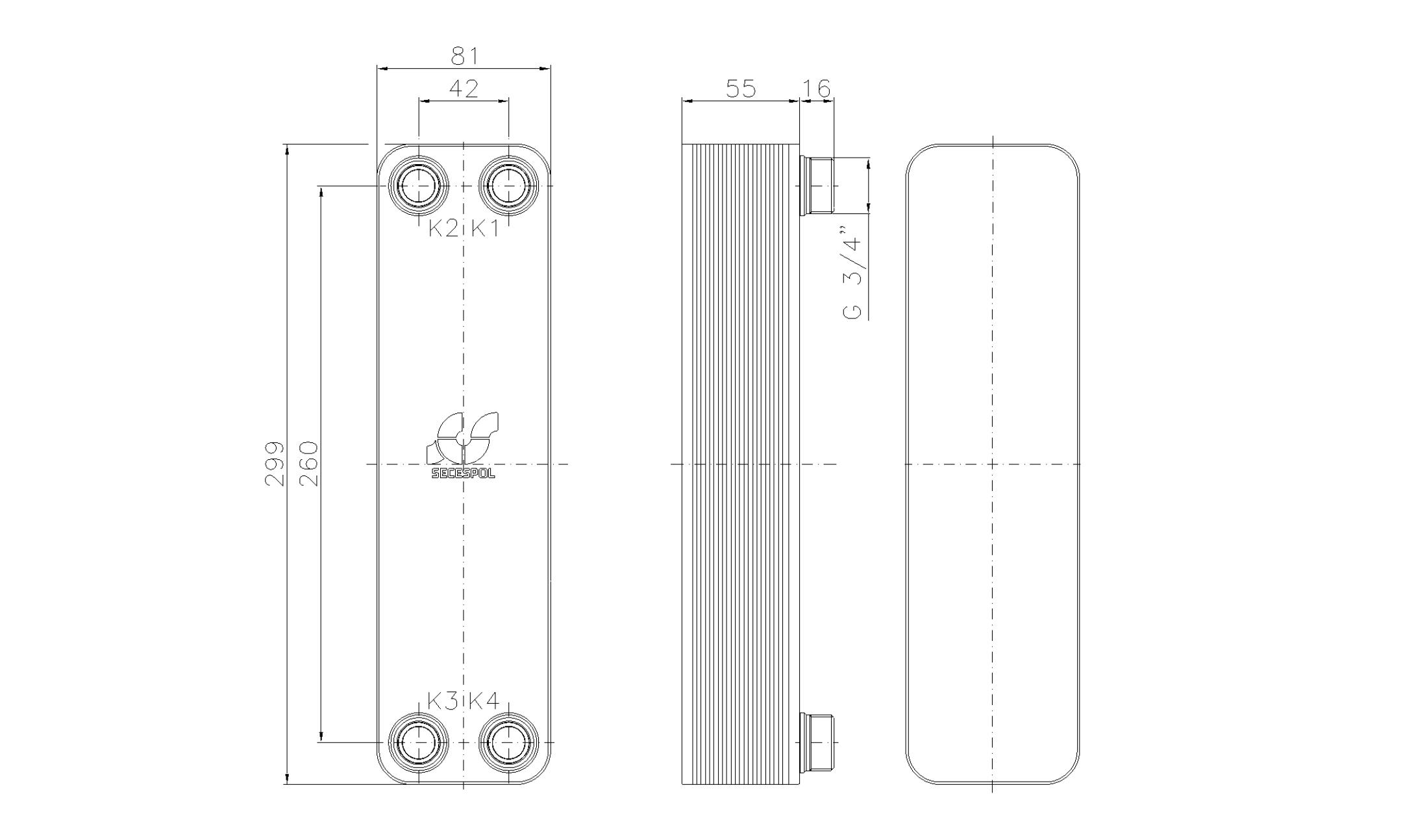 """Габаритные размеры паяного пластинчатого теплообменника Secespol LA22-20-3/4"""""""