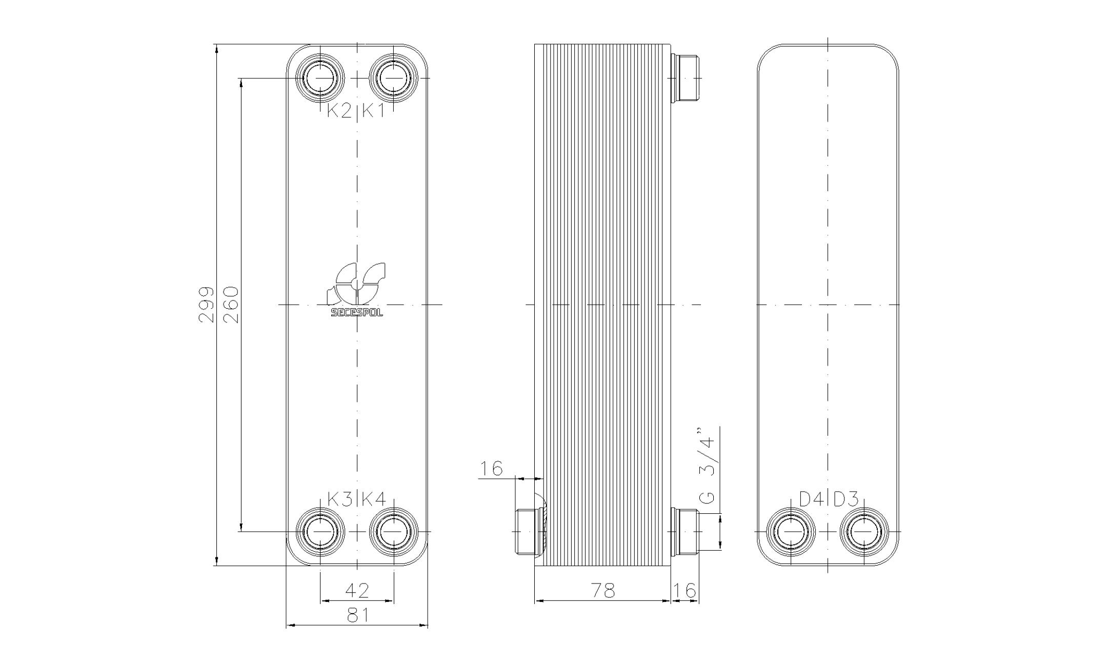 """Габаритные размеры паяного пластинчатого теплообменника Secespol LA22-30-2S-3/4"""""""