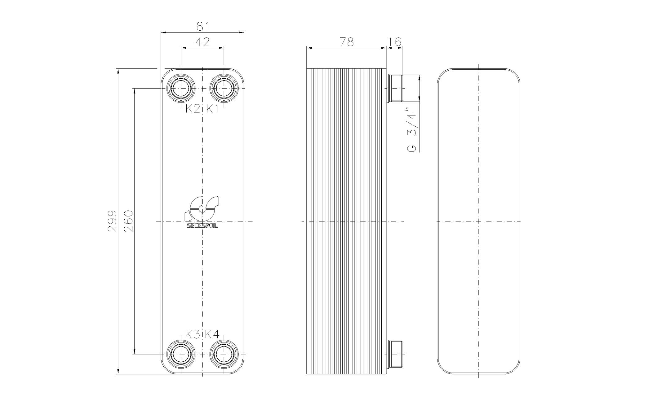 """Габаритные размеры паяного пластинчатого теплообменника Secespol LA22-30-3/4"""""""