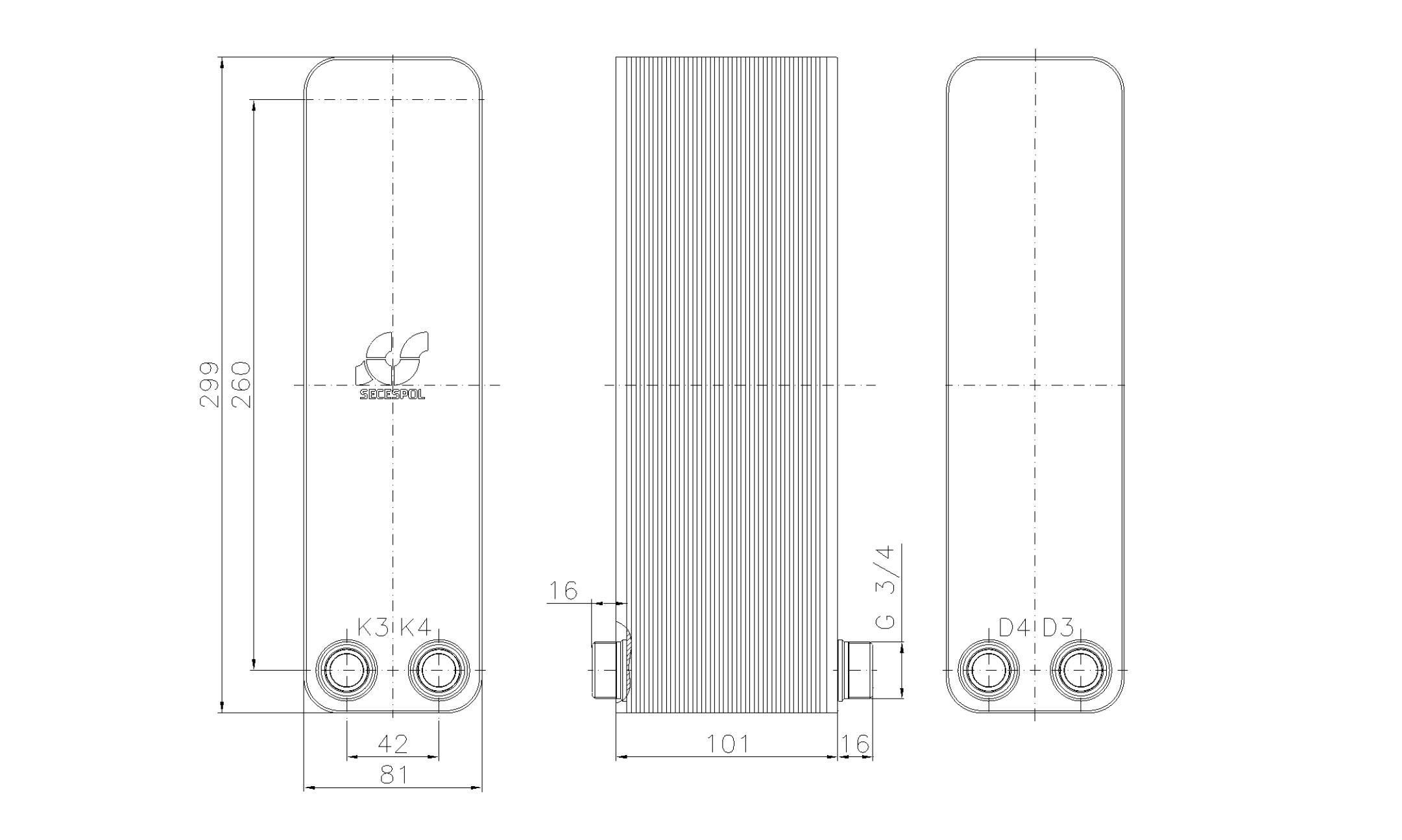 """Габаритные размеры паяного пластинчатого теплообменника Secespol LA22-40-2-3/4"""""""