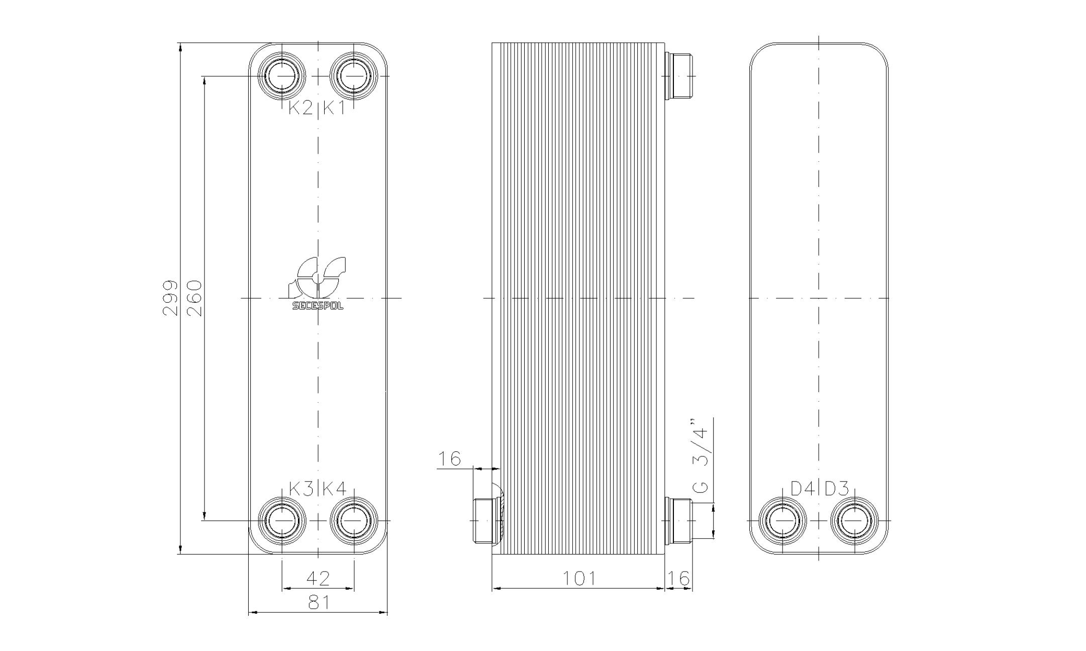 """Габаритные размеры паяного пластинчатого теплообменника Secespol LA22-40-2S-3/4"""""""