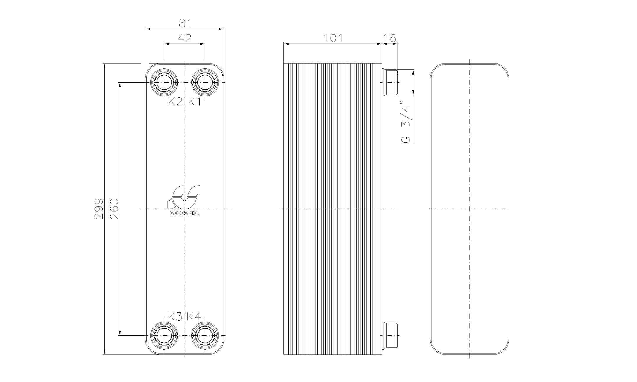 """Габаритные размеры паяного пластинчатого теплообменника Secespol LA22-40-3/4"""""""