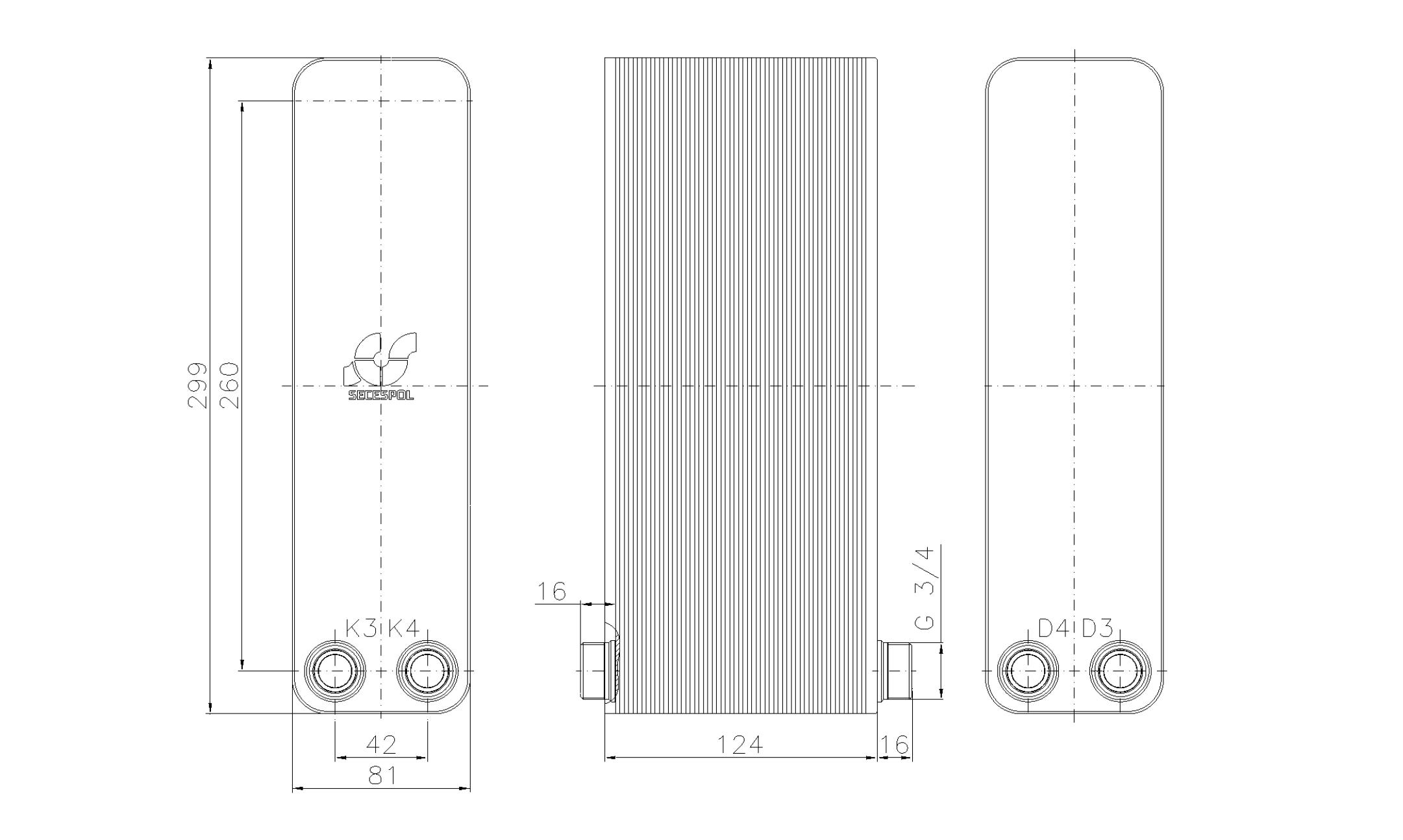 """Габаритные размеры паяного пластинчатого теплообменника Secespol LA22-50-2-3/4"""""""
