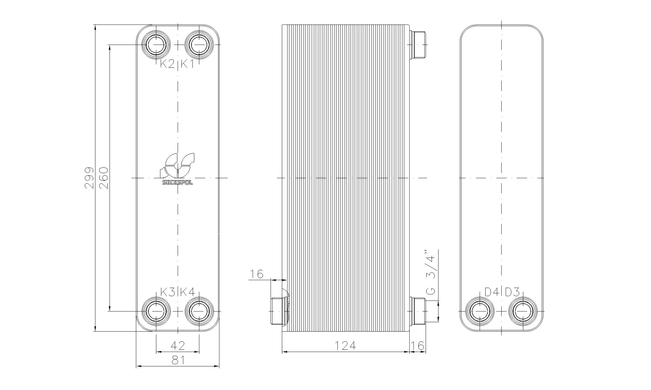 """Габаритные размеры паяного пластинчатого теплообменника Secespol LA22-50-2S-3/4"""""""