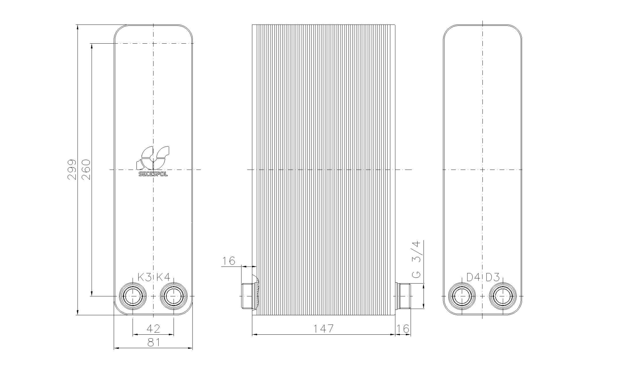 """Габаритные размеры паяного пластинчатого теплообменника Secespol LA22-60-2-3/4"""""""