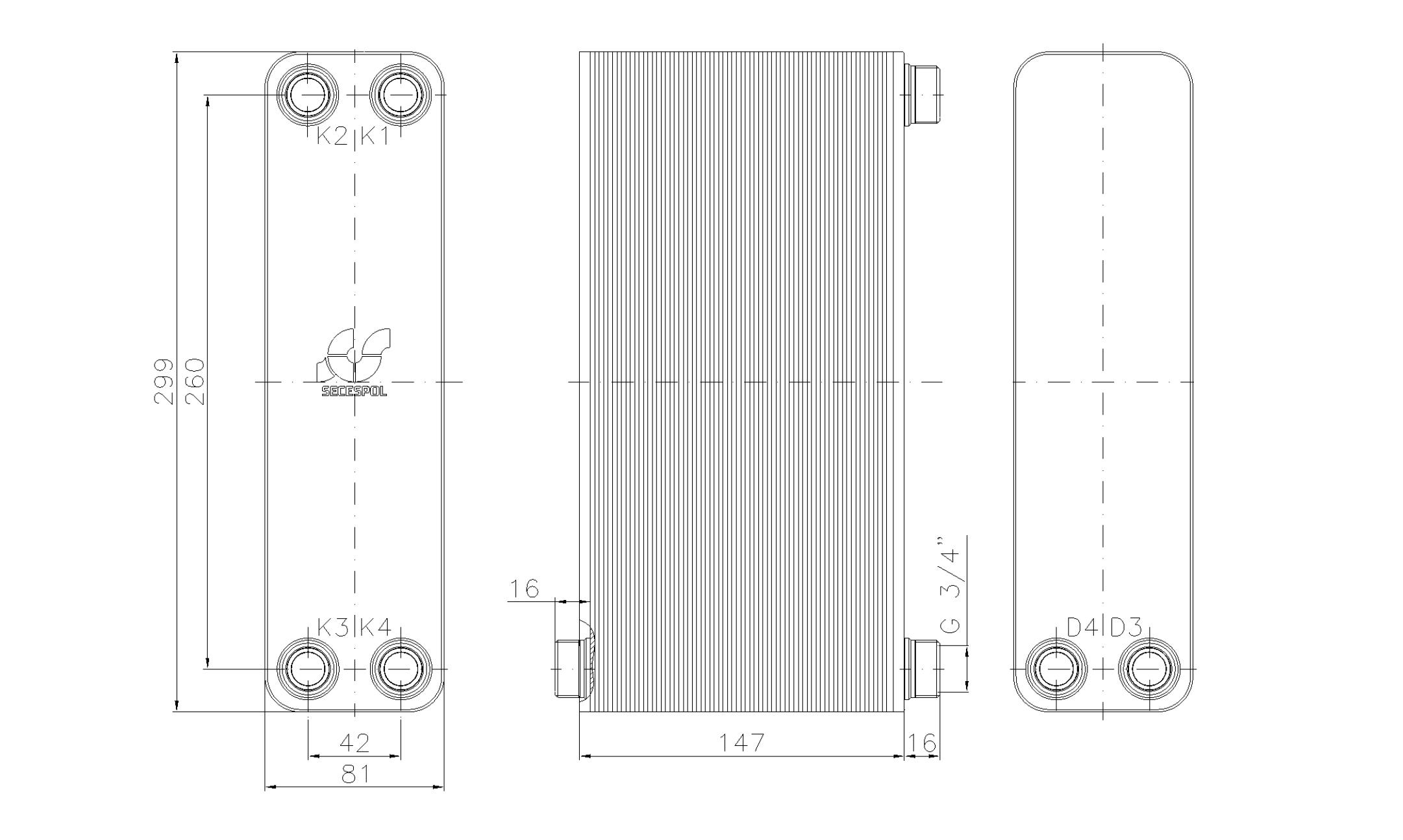 """Габаритные размеры паяного пластинчатого теплообменника Secespol LA22-60-2S-3/4"""""""