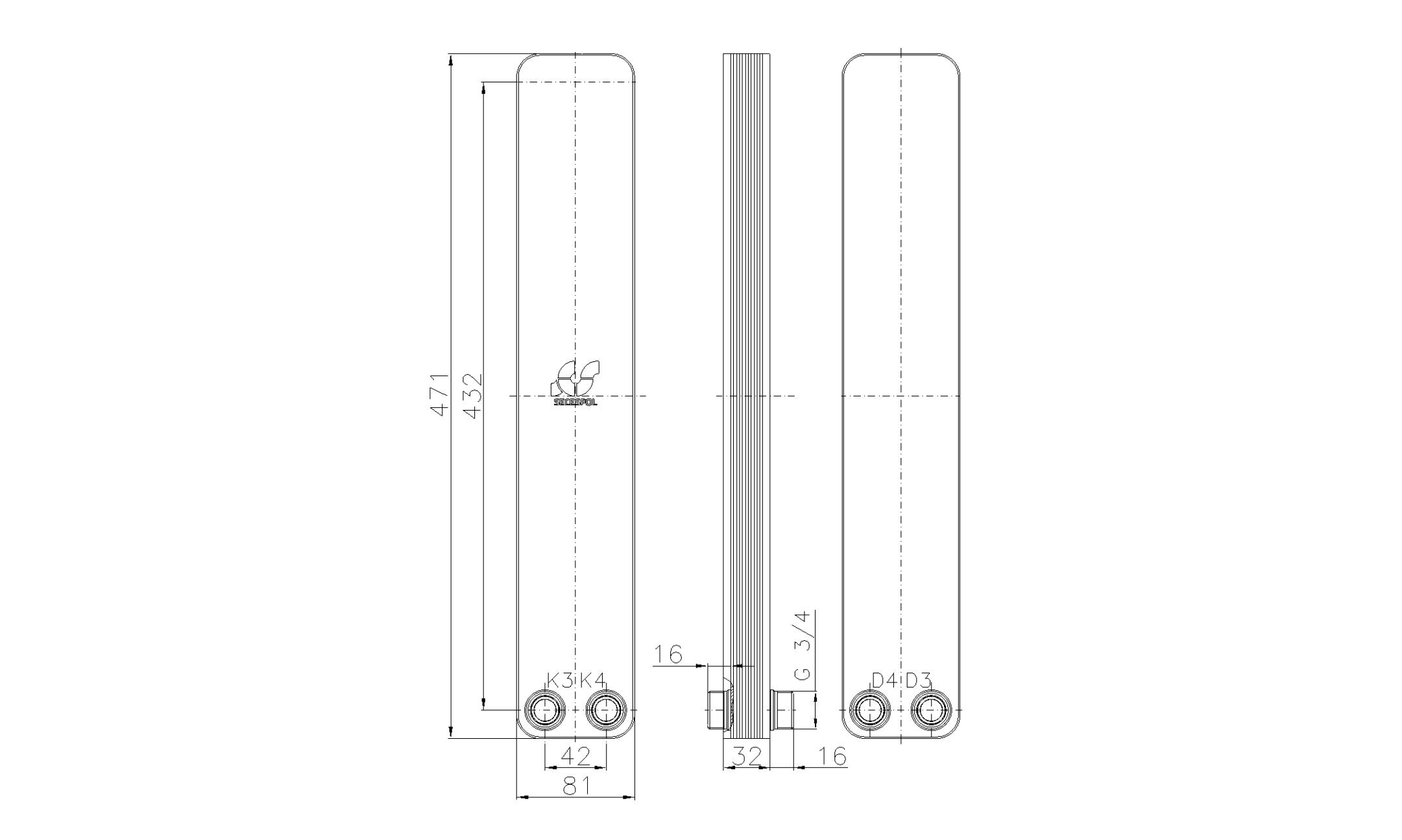 """Габаритные размеры паяного пластинчатого теплообменника Secespol LA34-10-2-3/4"""""""