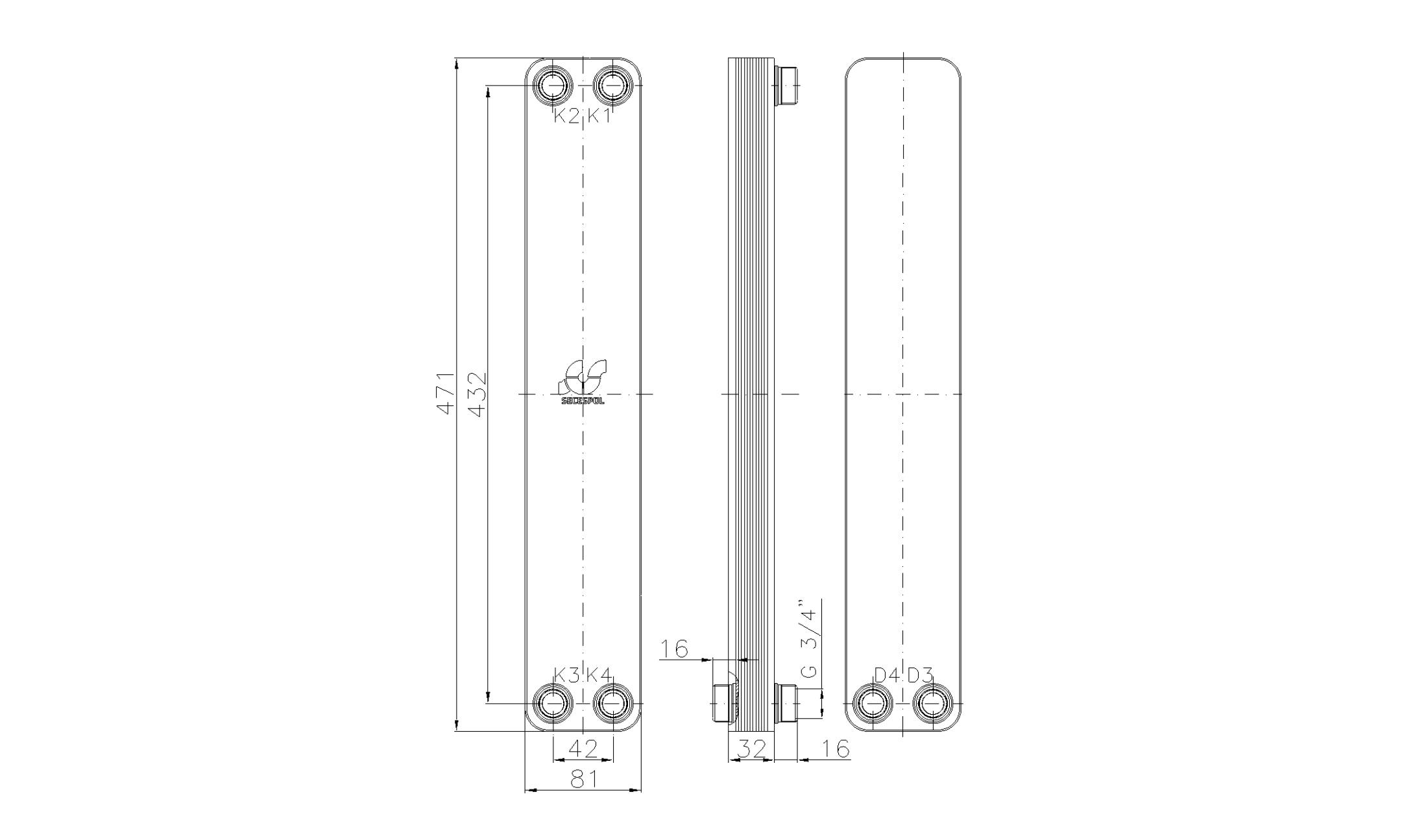 """Габаритные размеры паяного пластинчатого теплообменника Secespol LA34-10-2S-3/4"""""""