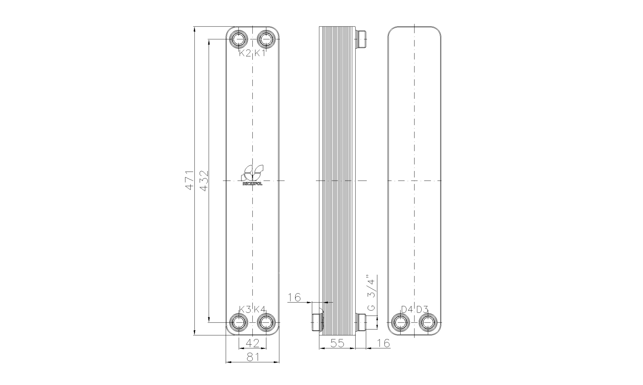 """Габаритные размеры паяного пластинчатого теплообменника Secespol LA34-20-2-3/4"""""""
