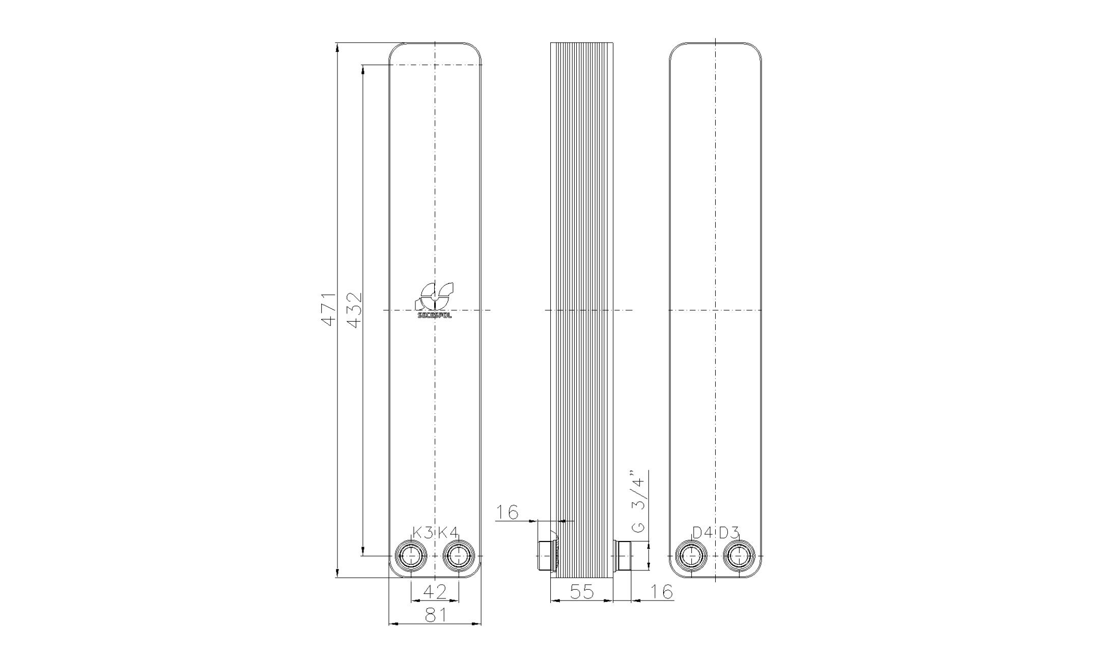 """Габаритные размеры паяного пластинчатого теплообменника Secespol LA34-20-2S-3/4"""""""