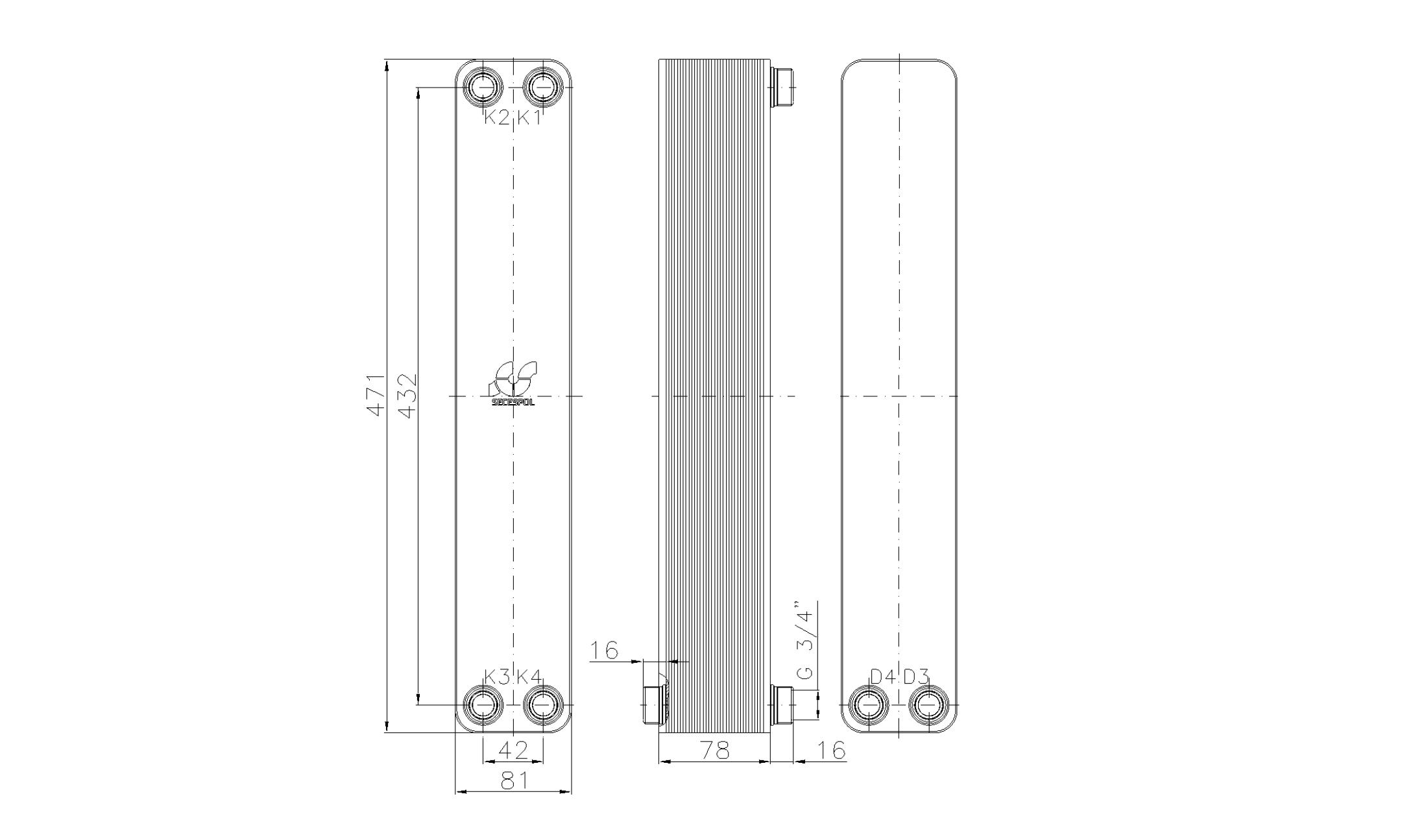 """Габаритные размеры паяного пластинчатого теплообменника Secespol LA34-30-2S-3/4"""""""