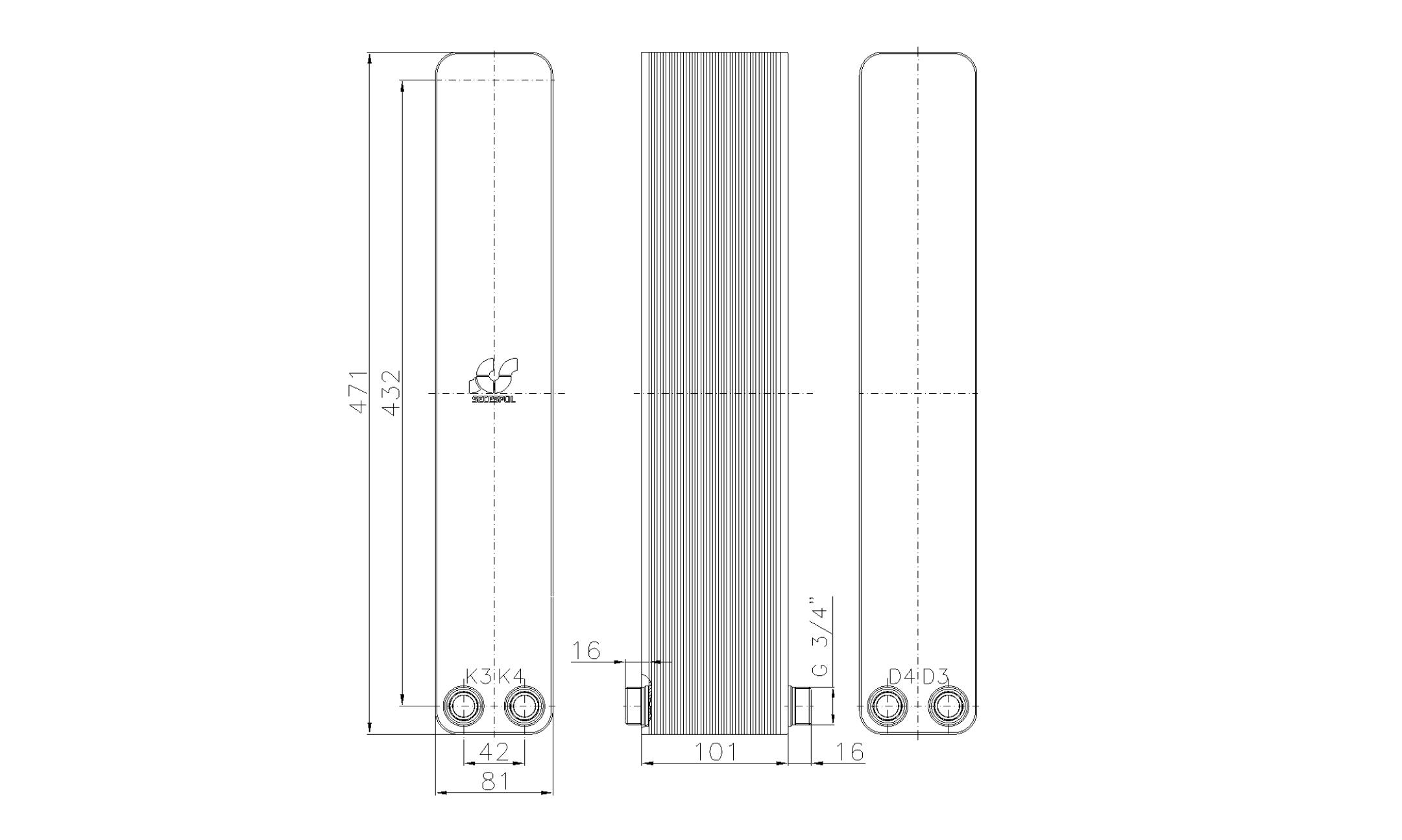 """Габаритные размеры паяного пластинчатого теплообменника Secespol LA34-40-2-3/4"""""""