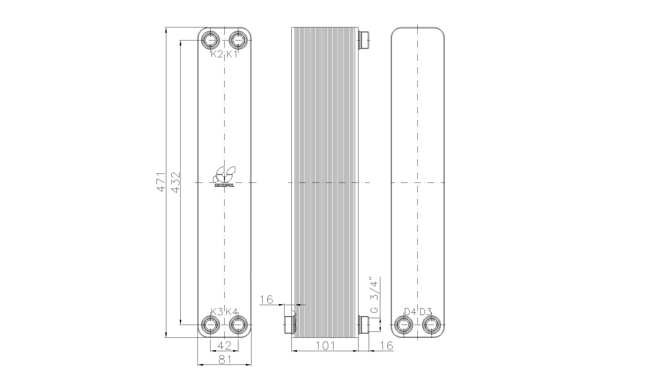 """Габаритные размеры паяного пластинчатого теплообменника Secespol LA34-40-2S-3/4"""""""