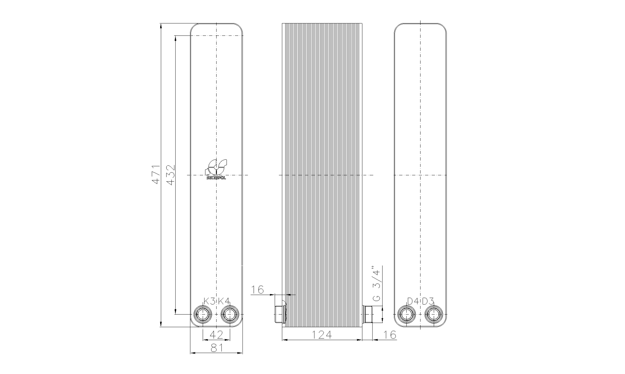 """Габаритные размеры паяного пластинчатого теплообменника Secespol LA34-50-2-3/4"""""""