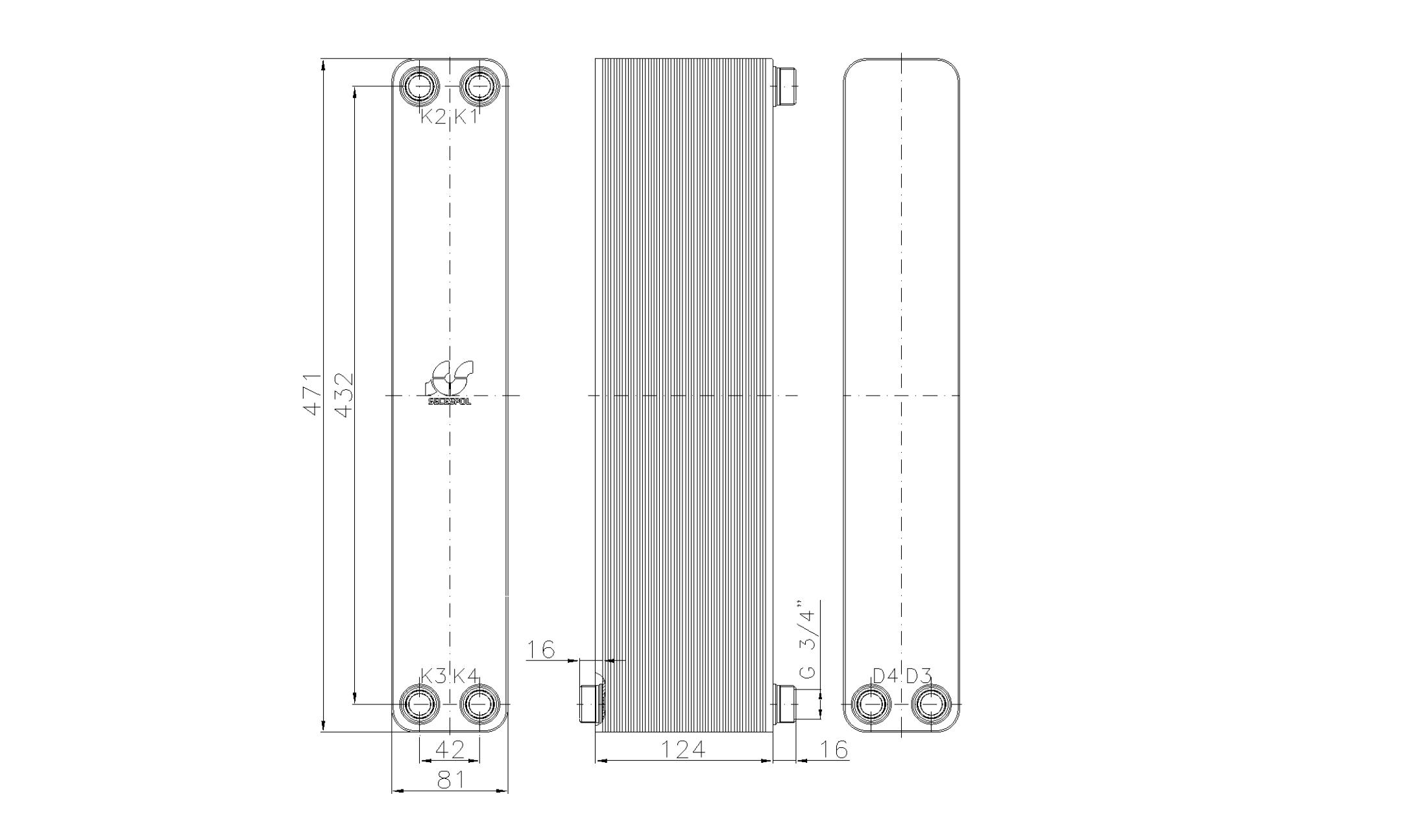 """Габаритные размеры паяного пластинчатого теплообменника Secespol LA34-50-2S-3/4"""""""