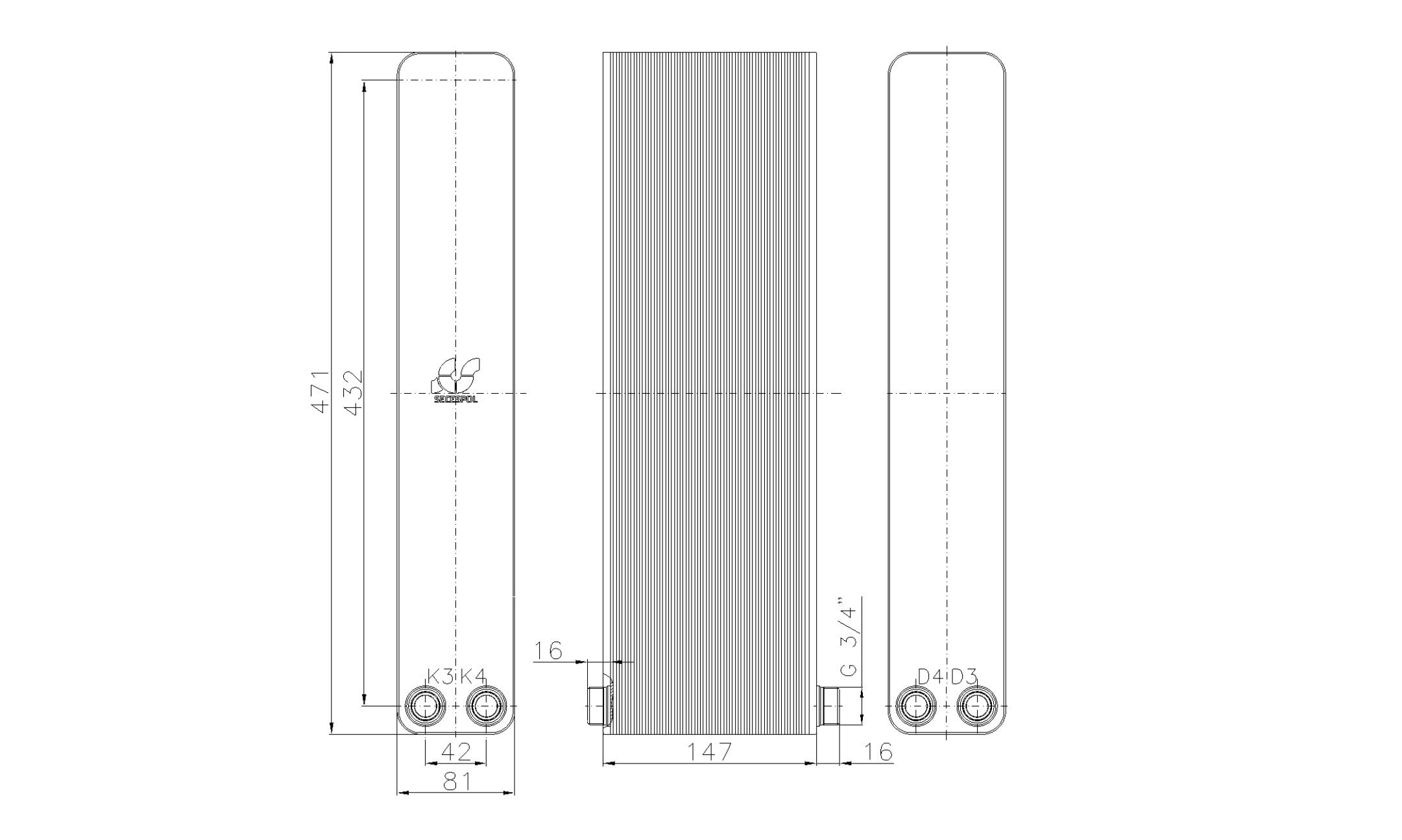 """Габаритные размеры паяного пластинчатого теплообменника Secespol LA34-60-2-3/4"""""""