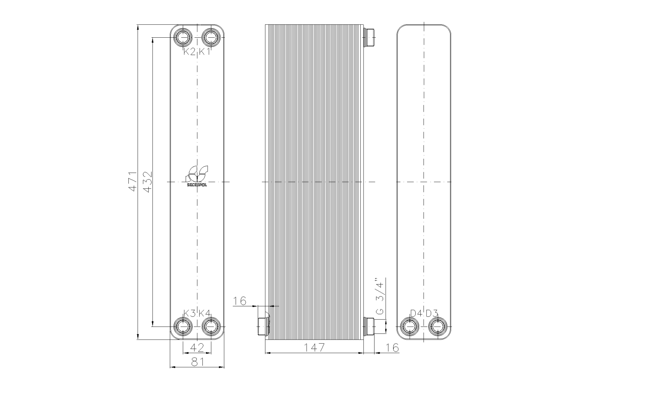 """Габаритные размеры паяного пластинчатого теплообменника Secespol LA34-60-2S-3/4"""""""
